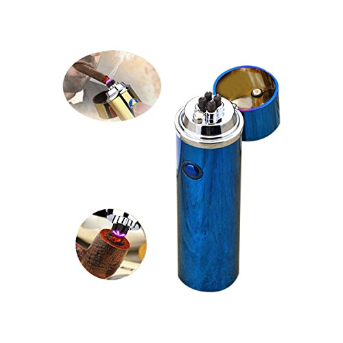 Novelty Wares - Innovative Flameless Plasma X Beam Lighter - Rechargeable - Restructured - Pipes - Bowls - Cigars - Windproof - Waterproof- Neon Rainbow | Blue | Gun Metal | Matte Black (Blue) - Double Dragon Candle Holder