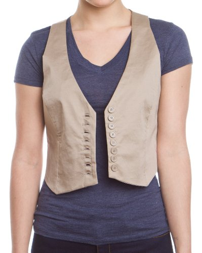 Women's Button Up Vest Top, Tan-Small