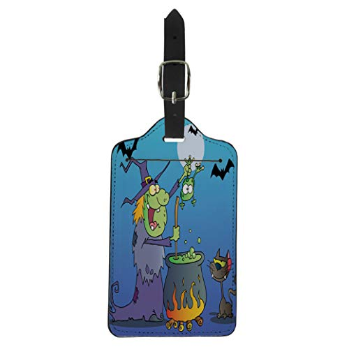 Pinbeam Luggage Tag Crazy Witch Black Cat Holding Frog and Preparing Suitcase Baggage Label ()