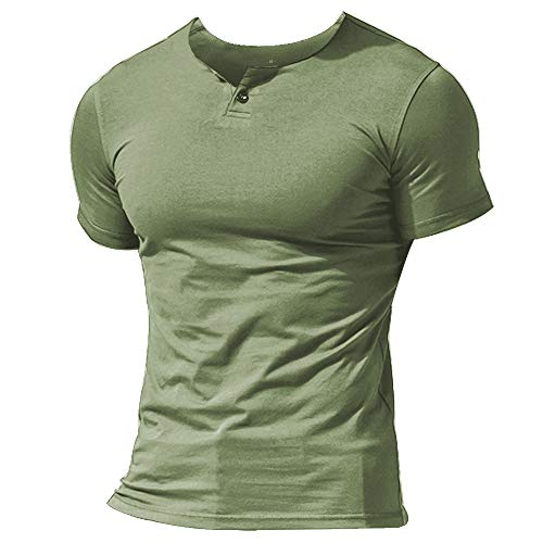 - MUSCLE ALIVE Mens Summer Casual Short Sleeve Henleys T-Shirt Single Button Placket Plain Shirts Light Green Color Size L