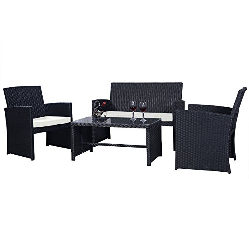 Goplus 4 PC Rattan Patio Furniture Set Garden Lawn Sofa Cushioned Seat Wicker Sofa (Black) (Rattan Garden)