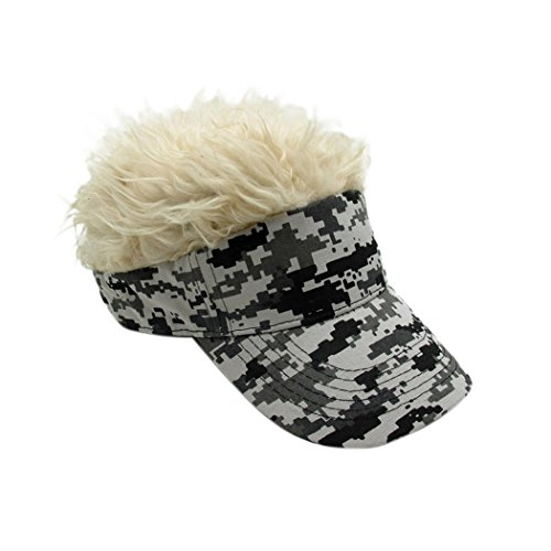 Raylans Novelty Sun Visor Cap Wig Peaked Adjustable Baseball Hat with Spiked Hair (Camouflage3) -