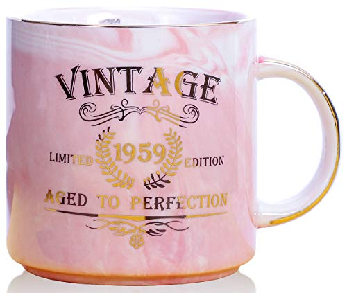 (1959 60th Birthday Gifts for Women and Men Ceramic Mug - Funny Vintage 1959 Aged To Perfection - Anniversary Gift Idea for Him, Her, Mom, Dad Husband or Wife - Ceramic Marble Cups 13 oz (Pink))