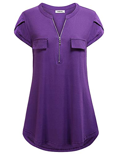 AxByCzD Maternity Work Shirts,Women Office Formal Tops Cute Zip up Vneck Fashion Tunic Modest Casual Blouse Basic Pullover Plus Size Cotton Tee Holiday Beach Clothes Summer Wear Outfits Purple XXL