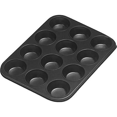 axentia Muffinbackform in Schwarz, Backblech für 12 Muffins, Muffinform mit Antihaftbeschichtung, Backform passend für jeden Backofen, Formgröße Ø ca: 7,5 cm, Höhe 3 cm Höhe 3 cm 253802