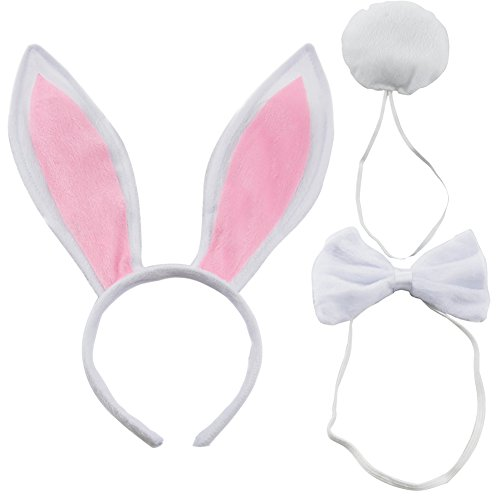 CHUANGLI Women's Rabbit Ears Headband Tail Bow Tie Party Plush Bunny Costume (Pack Of 3) White -