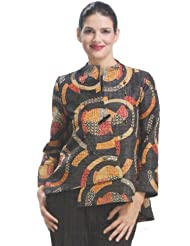 IC Collection Asymmetric Jacket 6717 in Soft Black Multicolor