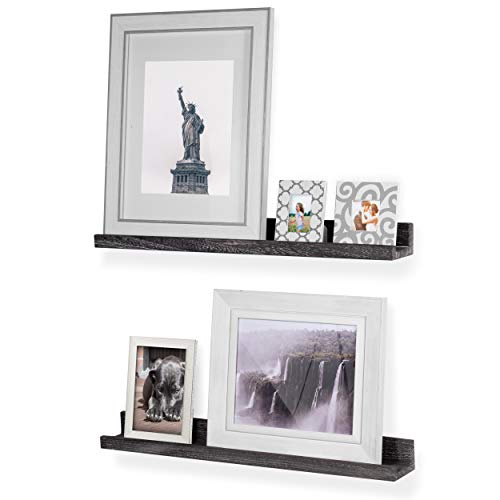 - Rustic State Ted Wall Mount Narrow Picture Ledge Shelf Display | 24 Inch Floating Wooden Shelves Distressed Black Set of 2