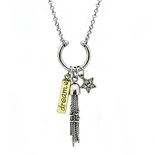 KIS Jewelry 'Dream' Pendant Necklace - Unity Themed Two-Toned Inspirational Charm Necklace With 'Star' Charm And Chain - Tiffany Sunglasses Key