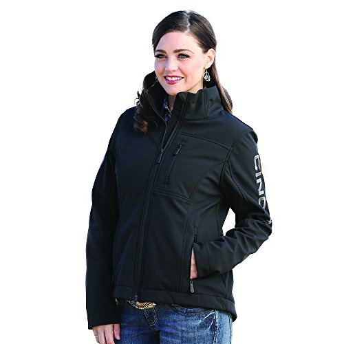 Cinch Women's Outdoor Water Repellent Camo Softshell Concealed Carry Jacket, Black/Silver, XXL