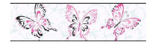 (York Wallcoverings Candice Olson Kids CK7608B Butterfly Scroll Border, White/Pink)