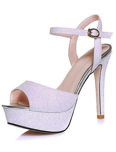 ShangYi Womens Shoes Glitter Stiletto Heel Peep Toe / Platform Sandals Party & Evening / Dress Black / White Black