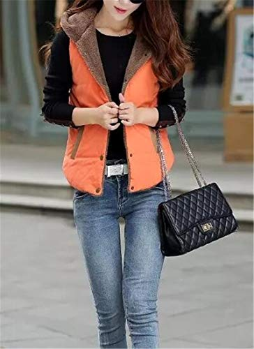Jacket Thick H amp;E Warm Fleece Overcoat Women's Vest Short Slim Fit Hoodie Orange 8pIpfw