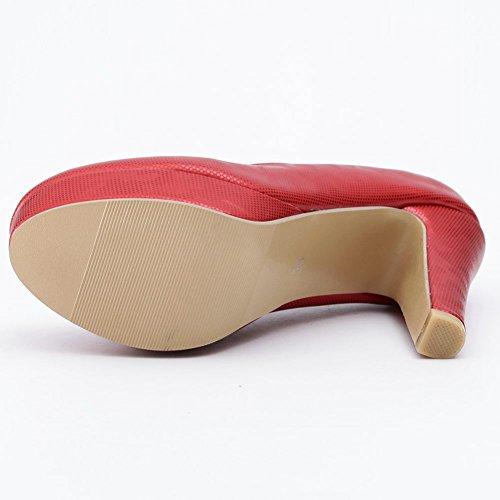 Platform High Block Low Pumps Shoes Work Toe Heel on Red Slip Elegant Closed Wedding KingRover Women's Cut HqW8FHOn