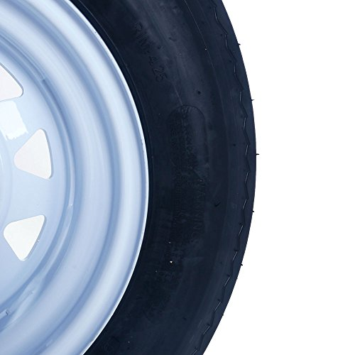 Set of 2 12'' 5 Lug White Bias Trailer Wheels & Rims 5.30-12 Tire Mounted on (5x4.5) bolt circle by Qp-SUNROAD (Image #4)