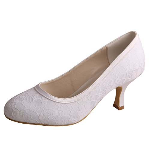 Heel Shoes Wedopus Pumps Plain White Slip Closed Lace Toe Wedding on MW858 Bridal Mid Womens nUpqwrU8xO