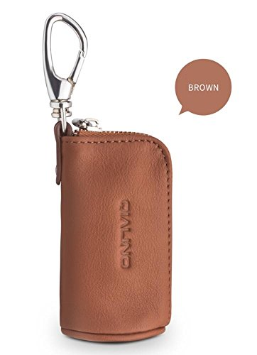 AirPods Case Brown, QIALINO Portable Real Leather Cover Carrying Case for Apple Earpods/ Headphone Accessories/ MP3 MP4 Player/ USB Cable/ Flash Drives/ Memory Cards/ Key
