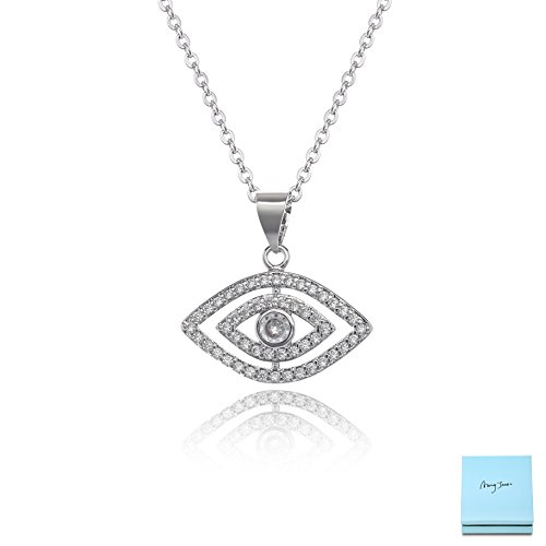 AMYJANE CZ Eye Necklace for Women - Sterling Silver Small Cubic Zirconia Evil Eye Good Luck Necklace Crystal Pendant Necklace Elegant Jewelry for Girls Gift Idea Costume -