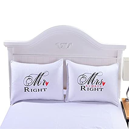 Sleepwish One Pair MR and MRS Pillowcases Personalised Pillow Cases for Him or Her Romantic Anniversary Wedding Valentine's Gift 50x75cm
