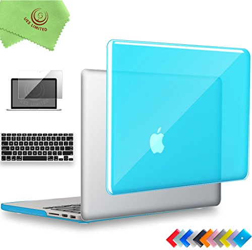 UESWILL 3 in 1 Glossy Crystal Hard Shell Case for MacBook Pro (Retina, 15 inch, Mid 2012/2013/2014/Mid 2015), Model A1398, NO CD ROM, NO Touch Bar + Keyboard Cover and Screen Protector, Aqua Blue