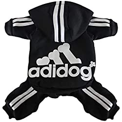Scheppend Original Adidog Pet Clothes for Dog Cat Puppy Hoodies Coat Doggie Winter Sweatshirt Warm Sweater Dog Outfits, Black Extra Large