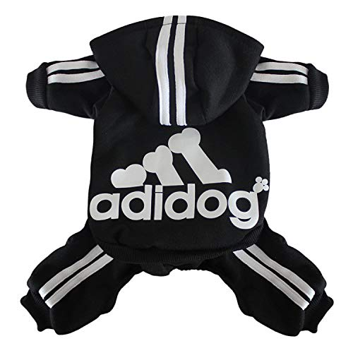 (Scheppend Original Adidog Pet Clothes for Dog Cat Puppy Hoodies Coat Doggie Winter Sweatshirt Warm Sweater Dog Outfits, Black Extra Small)