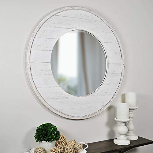 FirsTime Co. Ellison Shiplap Accent Wall Mirror, 27 , Aged White