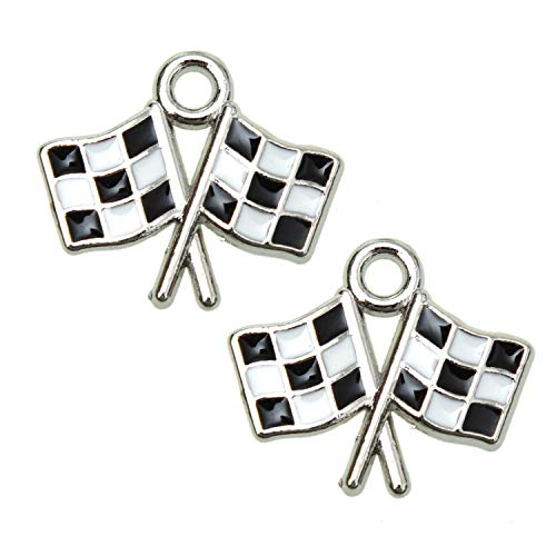 (Monrocco 10pcs Enameled Checkered Flag Charms Race Car Charm Pendant for Jewelry Making Bracelet, Keychains )