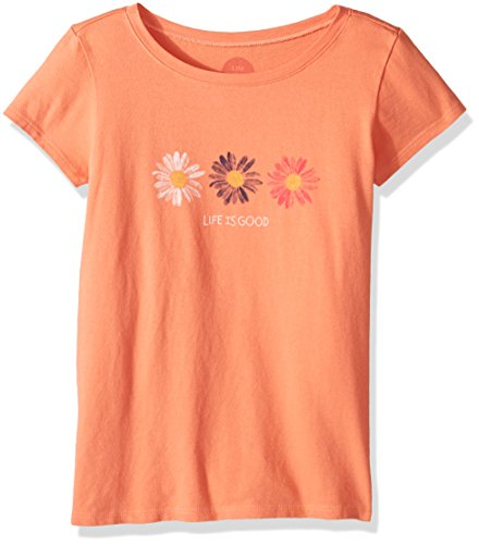 Life is good Girl's Tee Daisies, Fresh Coral, X-Large