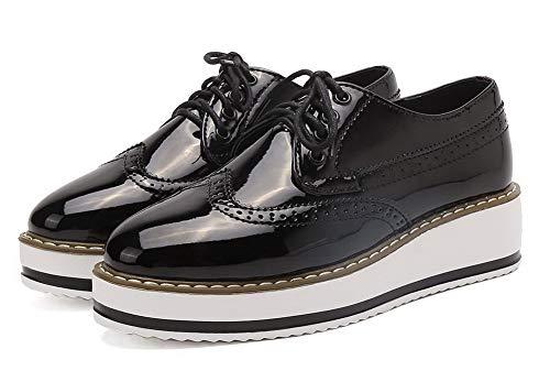 Lacet Chaussures Agoolar Couleur Noir Femme Légeres À Verni Unie Talon Gmbdb011362 Bas XTWX8
