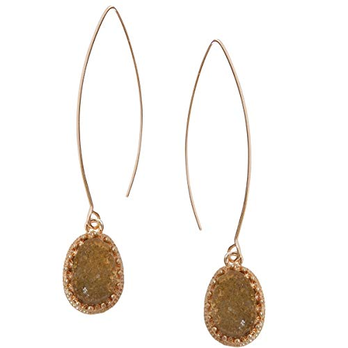Humble Chic Simulated Druzy Needle Drops - Gold-Tone Threader Upside-Down Hoop Dangle Earrings for Women, Simulated Quartzite, Champagne, Simulated Topaz, Nude, Gold-Tone