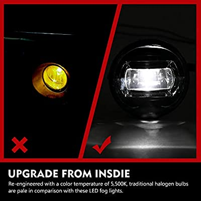 FieryRed LEDFog Light Assembly for Tacoma 2005-2011 (Adapter extension harness Included): Automotive