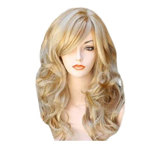 (Yikey Wig, Blonde Wigs Wavy Curly Long Heat Resistant Fiber Costume Party Wigs for Women Gold)