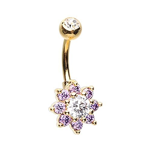 Golden Luxuriant Spring Flower WildKlass Belly Button Ring ()