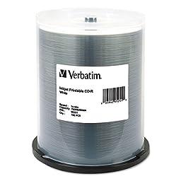 Verbatim 700MB 52x 80 Minute White Inkjet Printable Recordable Disc CD-R, 100-Disc Spindle  95251