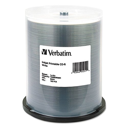 Verbatim 95251 CD-R 80 Minute Inkjet Printable White