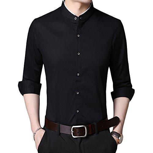 - HiLY Men's Tuxedo Shirt Banded Collar Dress Shirt Slim Fit Long Sleeve Cotton Tuxedo Dress Shirts for Men Black