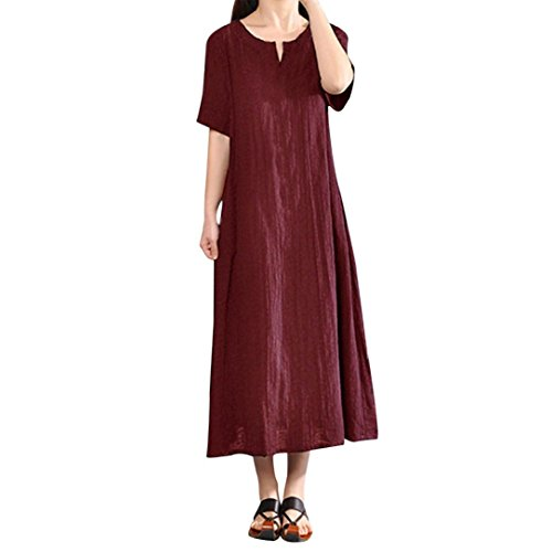 Realdo Solid Dress for Women, Casual Loose Short Sleeve Cotton Linen Dresses Evening Party(Wine,XXXX-Large) -