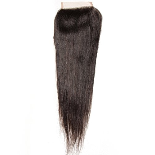 Donmily Brazilian Straight Hair Lace Closure Natural Color Remy Human Hair 10-20inch 1 Piece Free Part Closure (18 (Free 20 Piece)