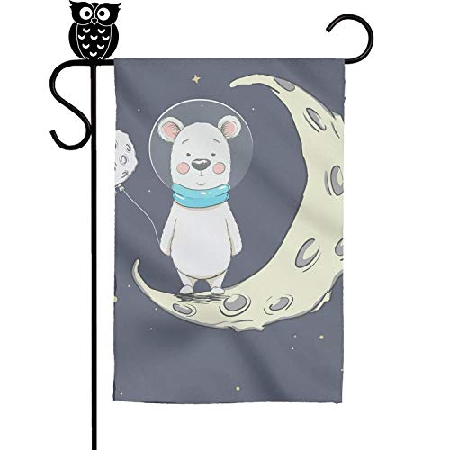 Kaiui Aidof Decorative Garden Flags Black Bear Astronaut Moo