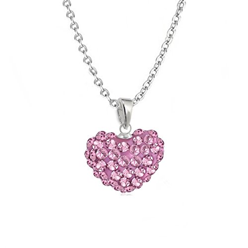 gh1a Cristal Corazón Colgante Con Cadena 925plata auténtica Chica Mujer Regalo Idea