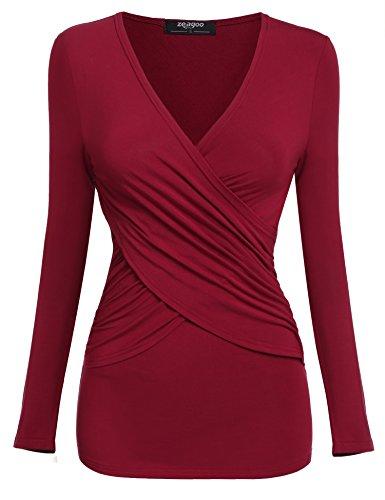 Zeagoo Damen Langarmshirt Wickelshirt Stretch Shirt Tunika Blusen mit V-Ausschnitt und Rüschen