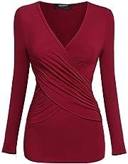 Zeagoo Damen V-Ausschnitt Langarmshirt Tunika Bluse Obertail T-Shirt mit Rüschen Weinrot-Neu- EU 42(Herstellergröße:XL)