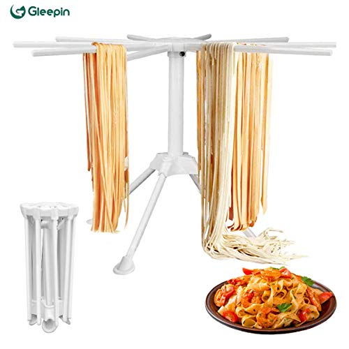 Homemade Pasta Drying Rack With 10 Bar Handles Collapsible, Fresh Pasta Maker Spaghetti Dryer Stand Noodle Drying Holder (Pasta Drying Rack)