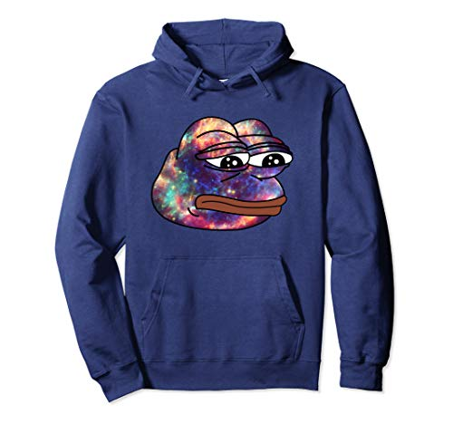 Unisex Rare Dank Cosmic Space Frog Meme Hoodie Small Navy
