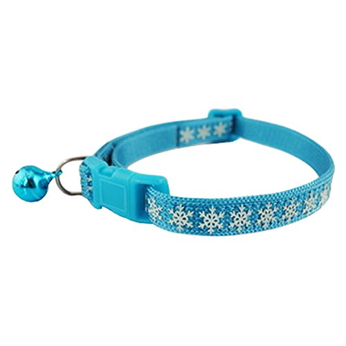 Skyflying Luminous Pets Cats Collar with Bell Bow Snowflake Necklace Glow in the Dark 2 pack (Blue) (Cat Snowflake)