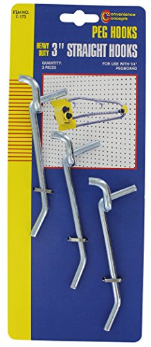 Convenience Concepts SC-173 Straight Single Heavy-Duty Pegboard Hooks