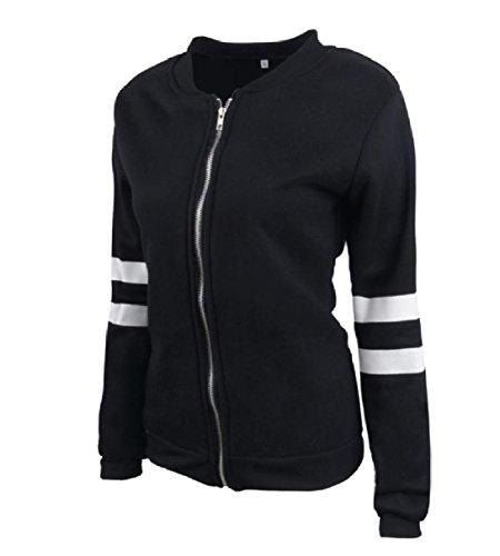 Coat Front Skinny Women Sleeve Zip Black Workout RkBaoye Jacket Trench Long pZU8x4T