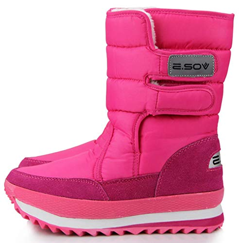261 Rose - XIANV Women Snow Boots Anti-Slip Soles Waterproof Non-Slip Warm Padded Shoes (8.5 US/EU 41 (Foot Length 258-263mm), Rose)