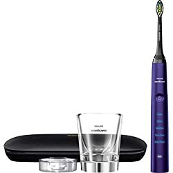 Philips Sonicare DiamondClean Rechargeable Electric Amethyst Toothbrush Bundle: 1 DiamondClean Handle & Brush Head, 1 Charging Glass, 1 Travel Case, 5 Modes Including Deep Clean and Sensitive